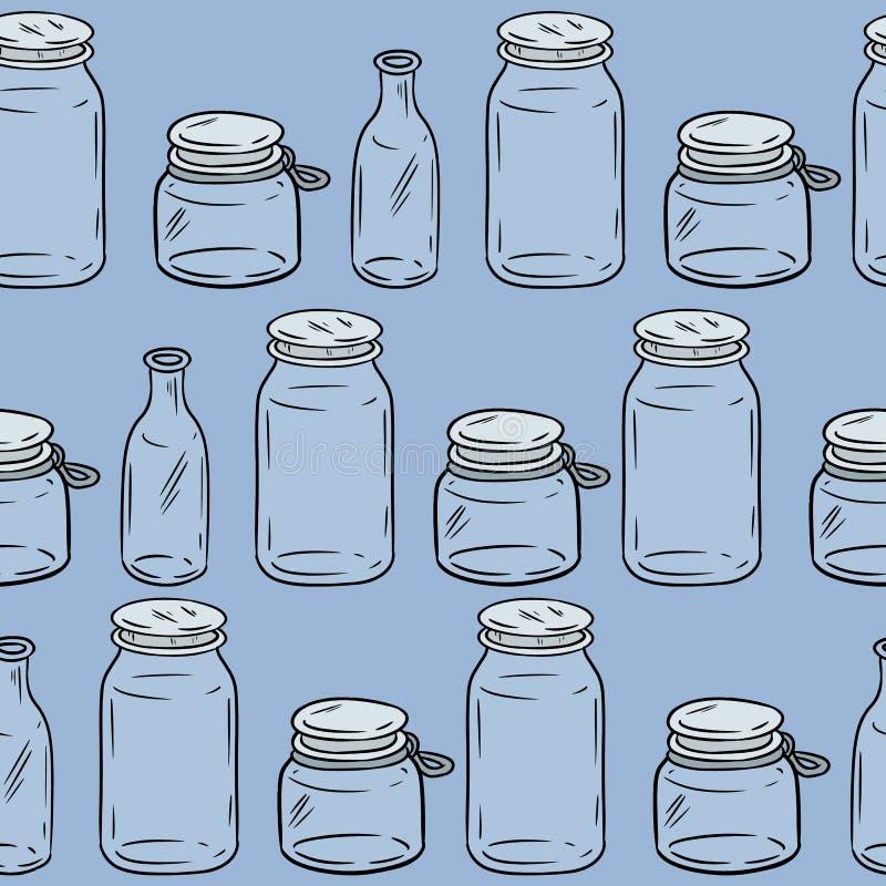 U?ywa mniej plastikowych szklanych s?oj?w bezszwowego wzoru kwadratowy szablon Ekologiczny i odpady E ilustracja wektor
