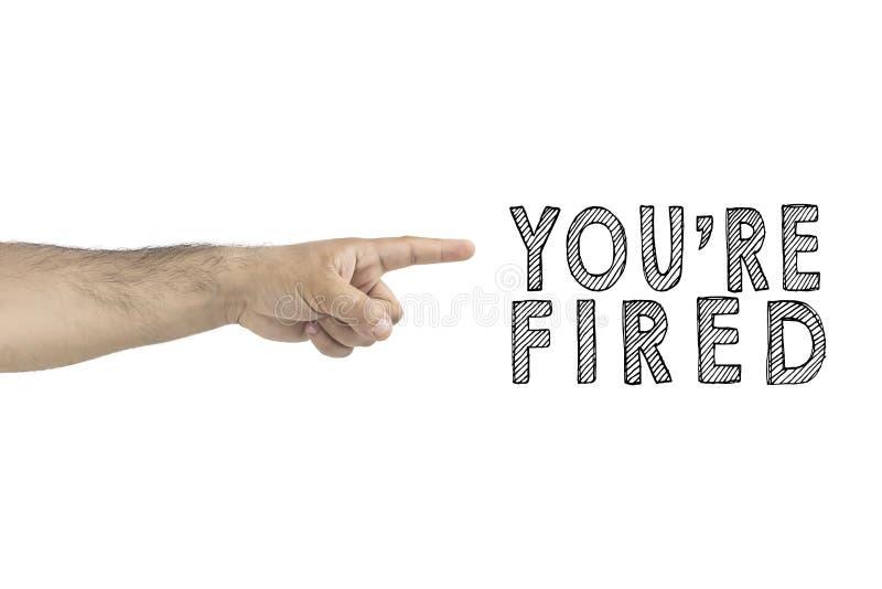 U, zaken, concept U wordt in brand gestoken het chef- gesturing teken van de uitweghand met wijsvinger ZAKENMAN IN BRAND GESTOKEN royalty-vrije stock afbeeldingen