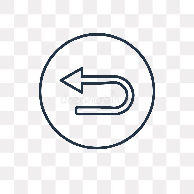 U zwrota wektorowa ikona odizolowywająca na przejrzystym tle, liniowy U ilustracja wektor