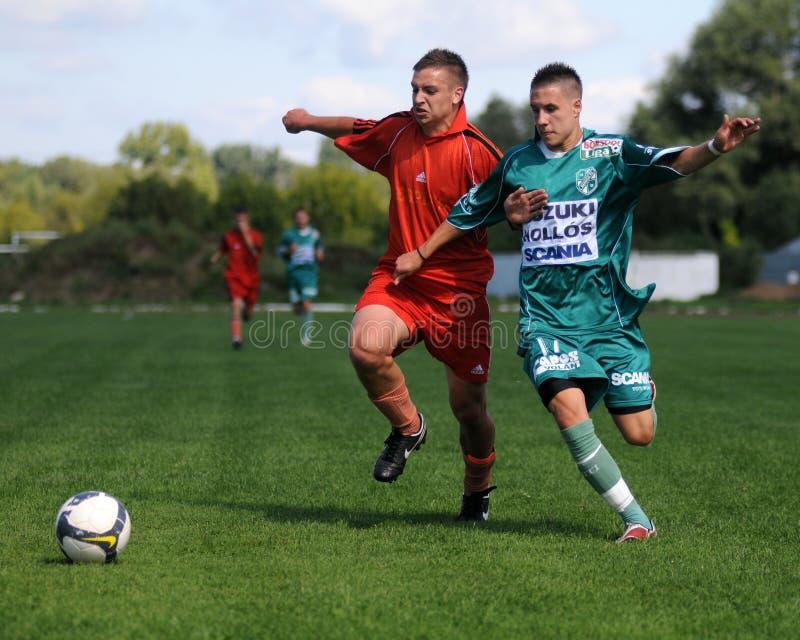 U19 voetbalspel stock foto