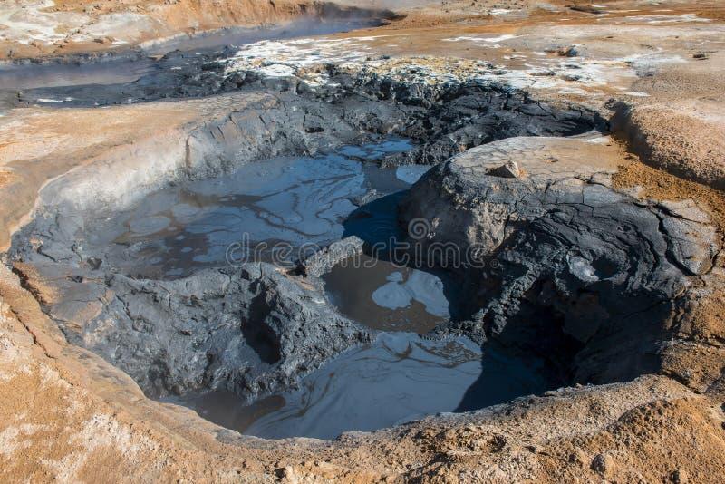泥罐在地热区域hverir, namafjall,冰岛