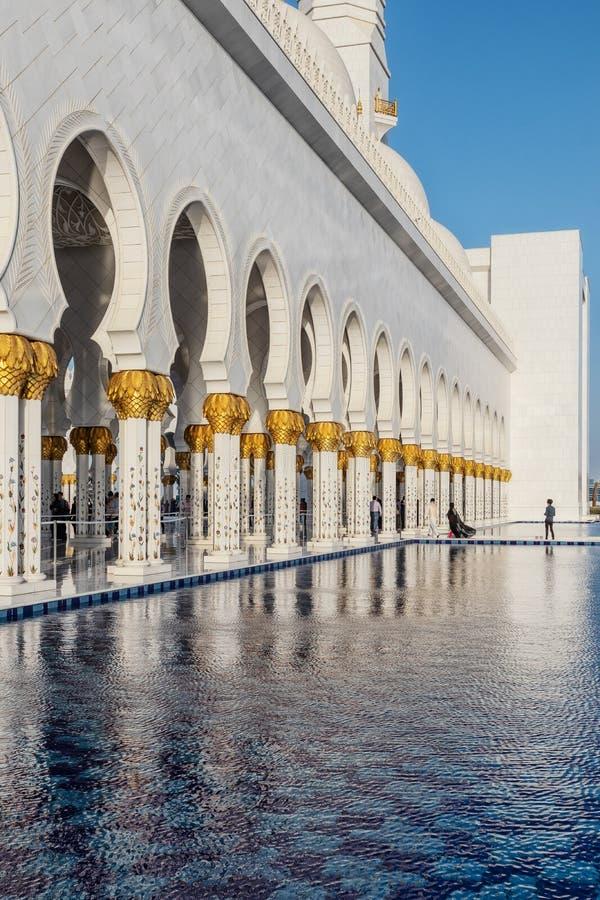 UAE/ABUDHABI 15 DEZ 2018 - Facade of famous arab mosque with sunset. UAE royalty free stock photography