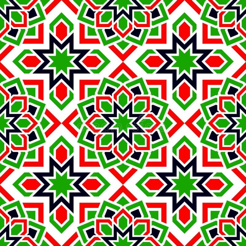 UAE bezszwowy wzór Języka arabskiego częstotliwy tło Tradycyjni emirat flagi kolory Rewolucjonistka, zieleń, biel, czarny islamsk royalty ilustracja
