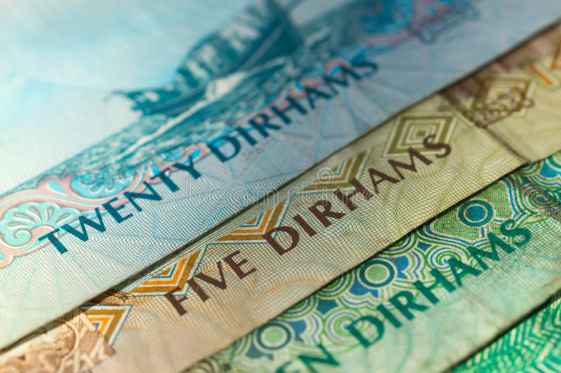 UAE Dirhams. Banknote background. Close up royalty free stock photography