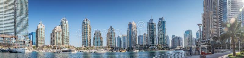 UAE/DUBAI 20 DEZ 2018 - Set of photographs forming a panoramic view of dubai marina with arranhaceus. UAE stock image