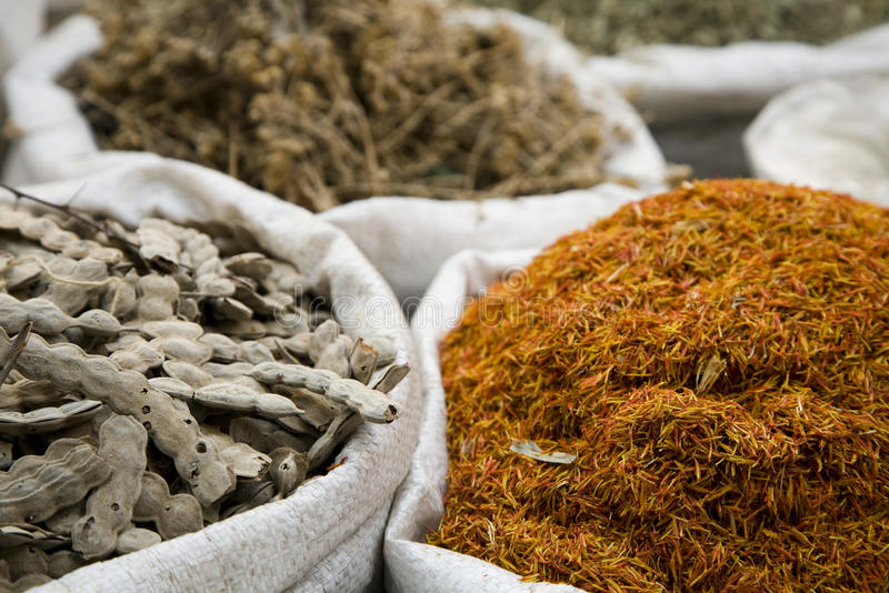 UAE Dubai many different spices are for sale at the spice souq in Deira stock photo