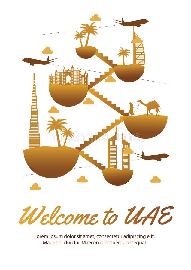 UAE famous landmark silhouette style on float island connect link with stair,dessert color design,travel and tourism stock illustration