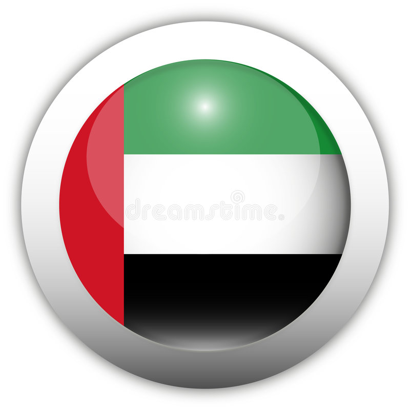 UAE Flag Aqua Button. UAE Flag Aqua Glass Button
