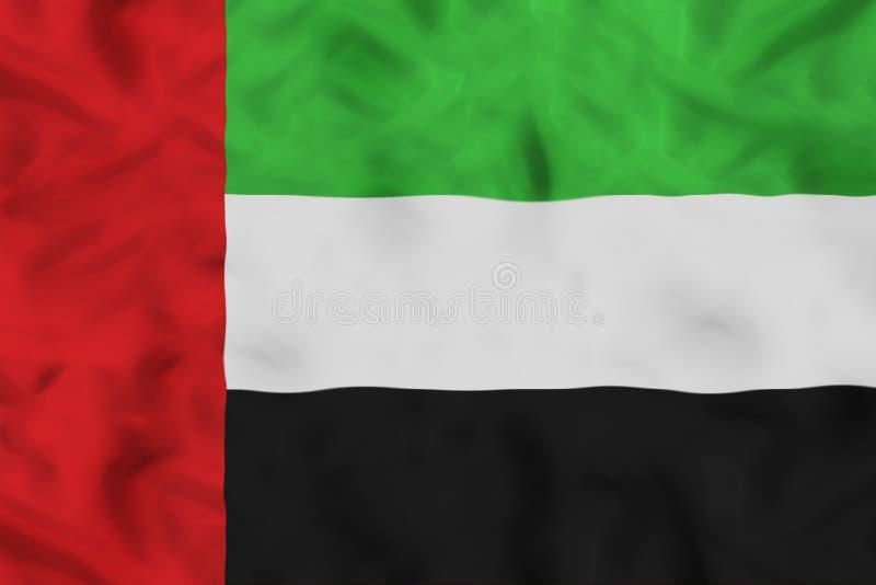 UAE flaga państowowa z falowanie tkaniną fotografia stock