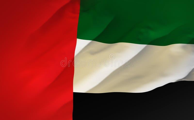 Uae-Flagge, Arabische Emirate-Seidenmaterialhintergrund, Wiedergabe 3D lizenzfreie abbildung