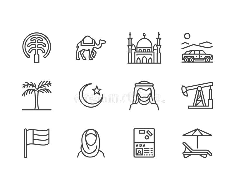 UAE flat line icons. Arab emirates flag, dubai , islam mosque, desert offroad car, muslim people, camel, oil vector. Illustrations. Thin signs for travel agency vector illustration