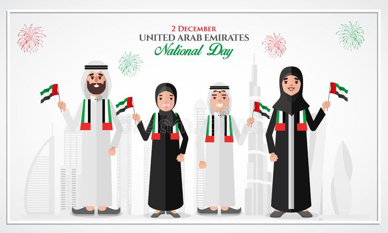 UAE national Day greeting card with cartoon Emirati family vector illustration