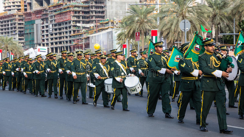 UAE National Day parade. DUBAI, UAE - December 01, 2015: Daytime of 44th UAE National Day celebration parade at the Mohammed Bin Rashid Boulevard, downtown Dubai royalty free stock photography