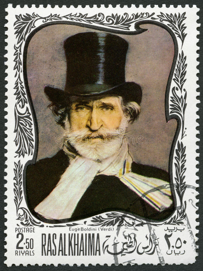 UAE - 1969: shows Giuseppe Verdi 1813-1901, Italian composer royalty free stock photo