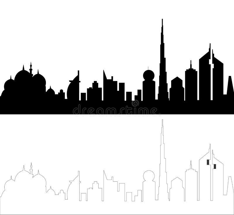 Uae-Skyline-Schattenbild lizenzfreie abbildung