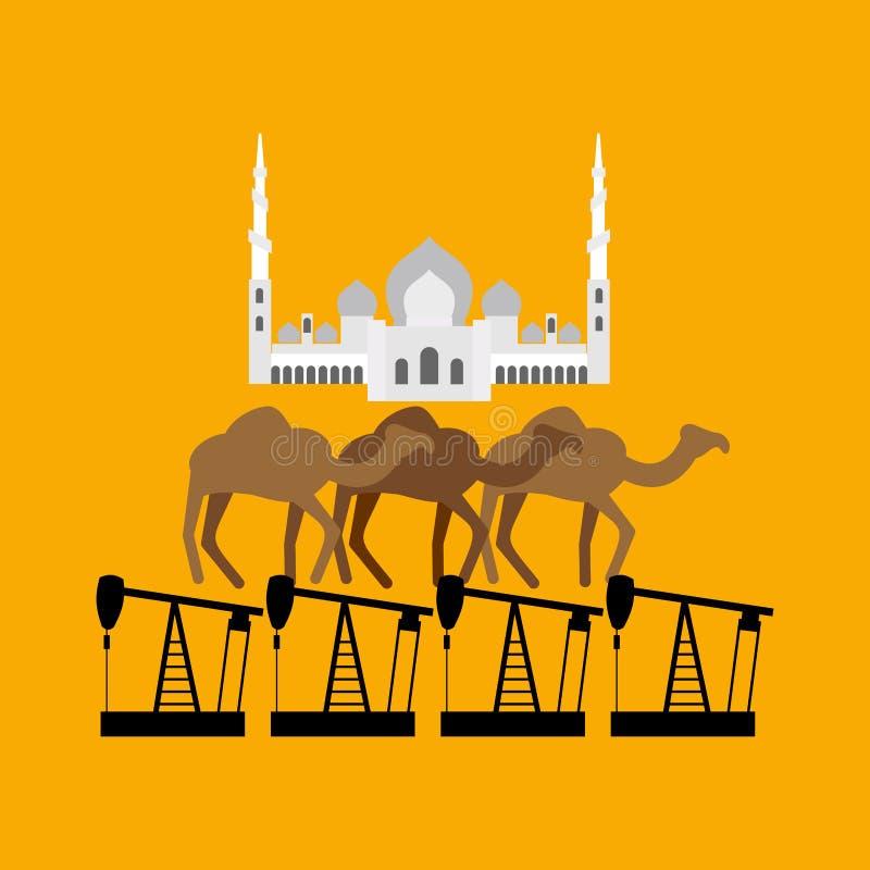 UAE-system Sheikh Zayed Mosque står på kamel och oljeplattform vektor illustrationer