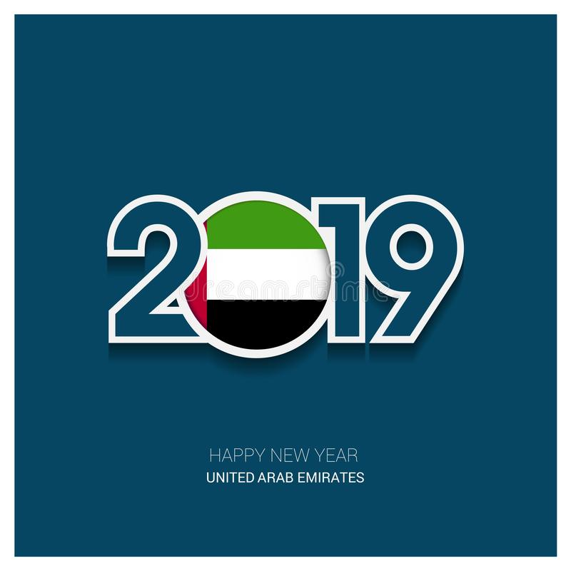 2019 UAE Typography, Happy New Year Background vector illustration