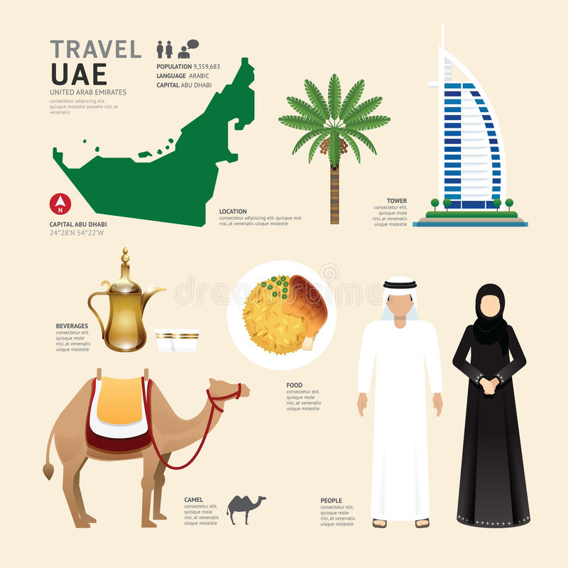 Free UAE United Arab Emirates Flat Icons Design Travel Concept.Vector Stock Image - 51404491