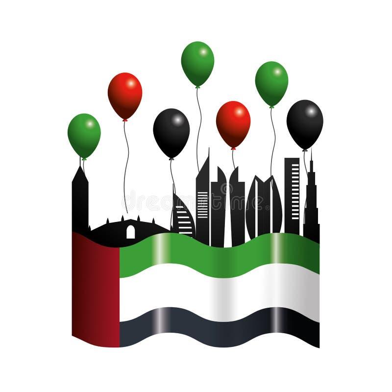 Uae z flagą i balonami patriotyczny dzień ilustracja wektor