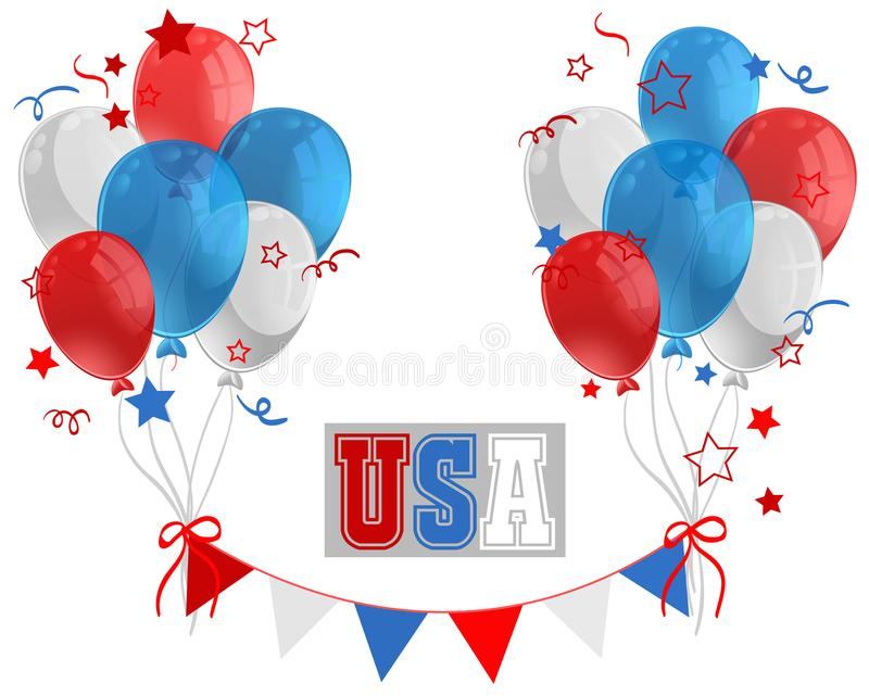 UAS-teken met ballons in vlagkleur stock illustratie