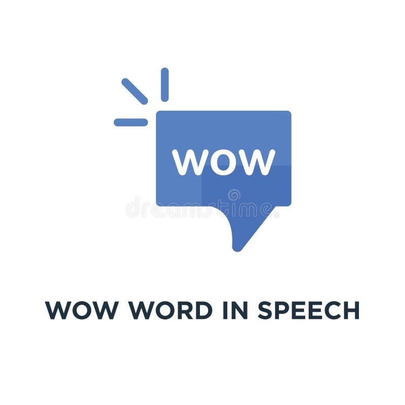 uau palavra no ícone da bolha do discurso, símbolo da surpresa em uma comunicação do Internet ou expressão da tendência simples d ilustração royalty free