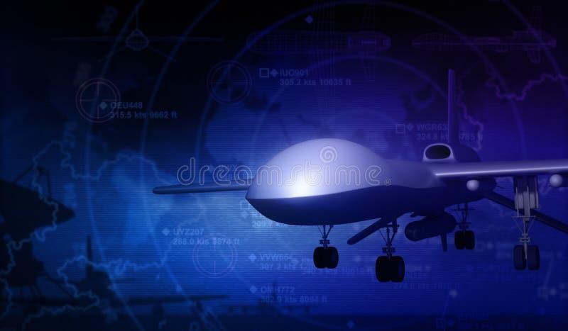 UAV Drone and Radar. 3d Rendering stock illustration