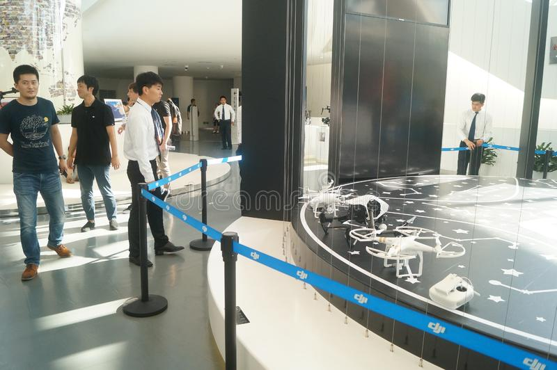 UAV exhibition hall. The unmanned air show hall shows many uavs. In Shenzhen, china stock photography