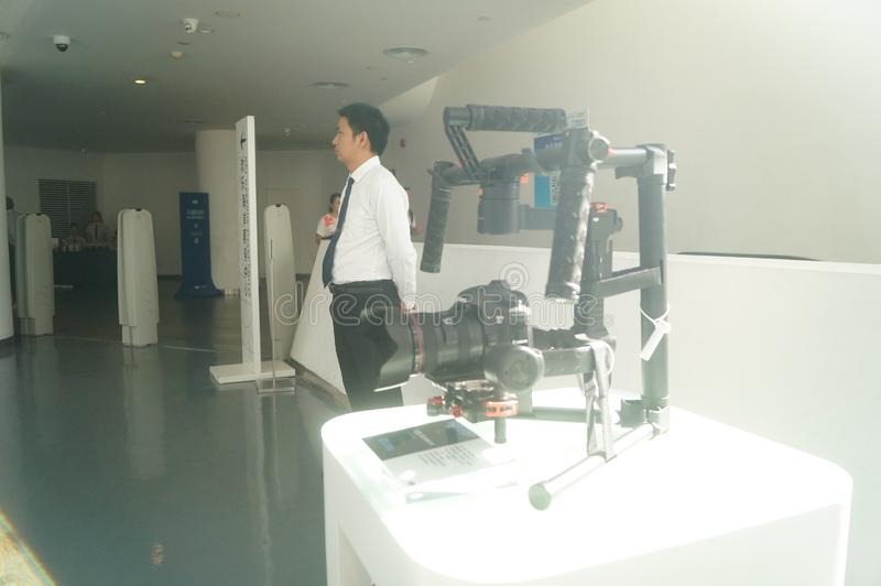 UAV exhibition hall. The unmanned air show hall shows many uavs. In Shenzhen, china stock photo