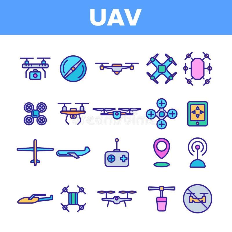 UAV, sistema linear de los iconos del vector teledirigido de los abejones ilustración del vector