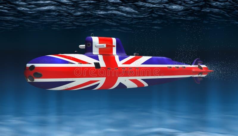 Ubåt av den Förenade kungariket marinen, begrepp framf?rande 3d royaltyfri illustrationer