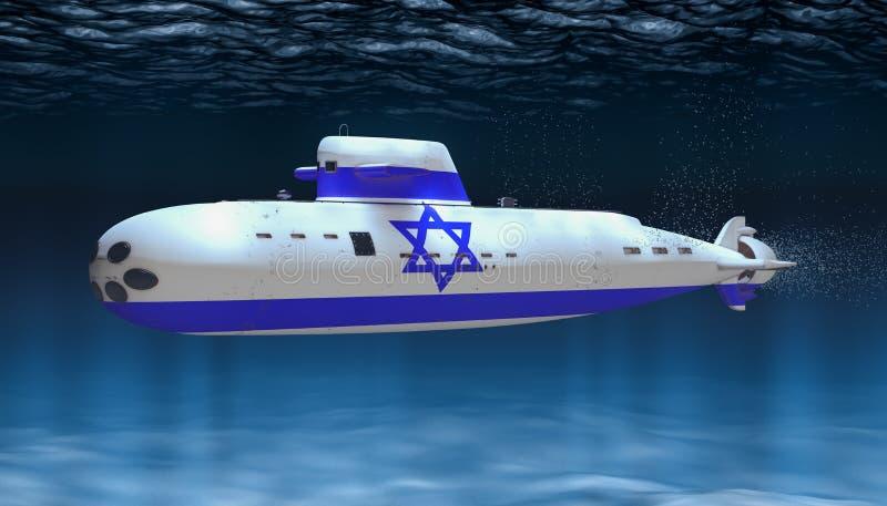 Ubåt av den israeliska marinen, begrepp framf?rande 3d royaltyfri illustrationer