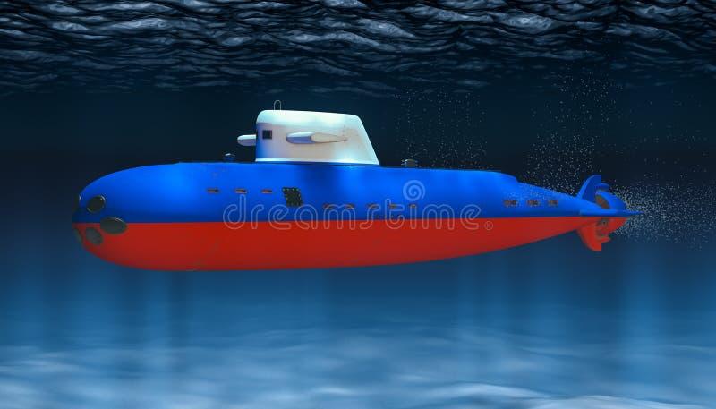 Ubåt av marinen för rysk federation, begrepp framf?rande 3d royaltyfri illustrationer