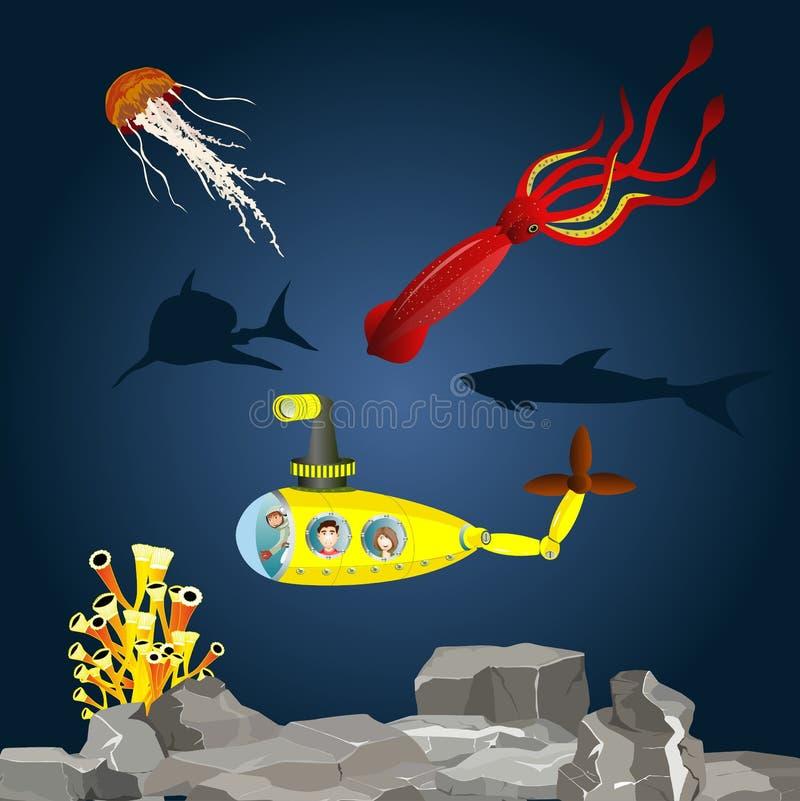 Ubåt med ungar i undervattens- royaltyfri illustrationer