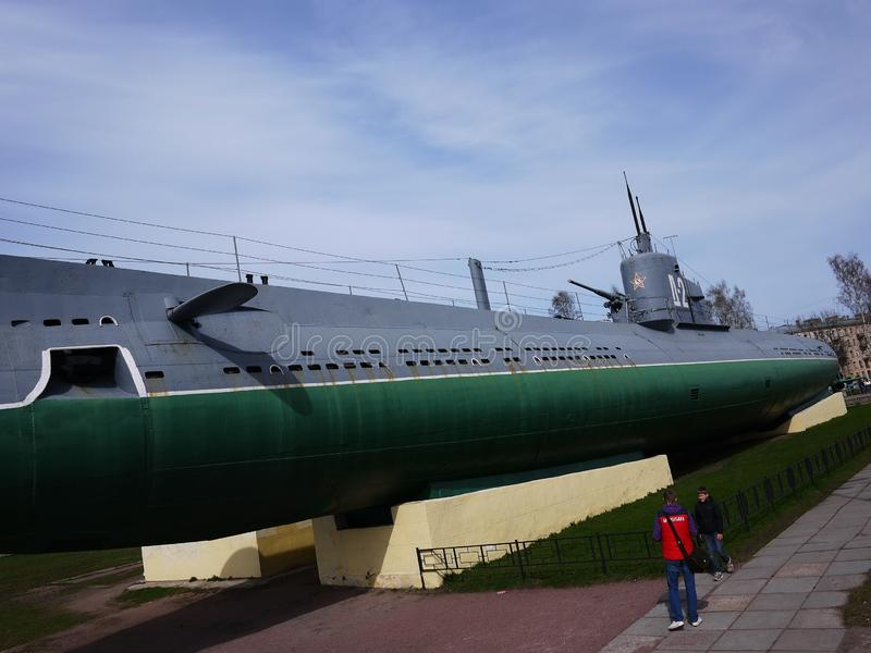 Ubåtmuseum, St Petersburg, Ryssland Denna ubåt konverterade in i intressera arkivbilder