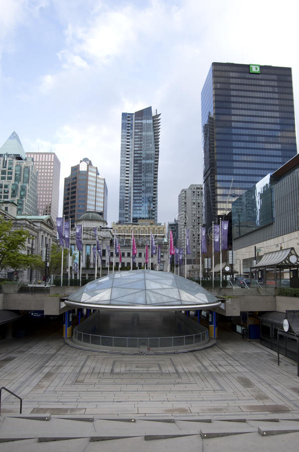 UBC Robson Square downtown Vancouver. Beautiful views of Vancouver City from UBC Robson Square. Canada stock image