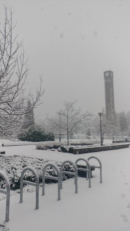 UBC in winter. The UBC clocktower amidst a winter landscape stock photos