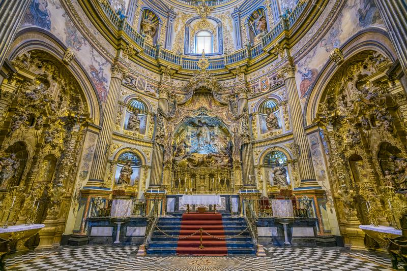 The beautiful church `Sacra Capilla del Salvador` in Ubeda, Jaen, Andalusia, Spain. stock photography
