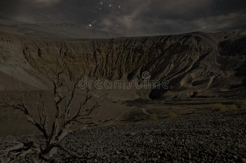 Ubehebe Crater Death Valley at Night stock images