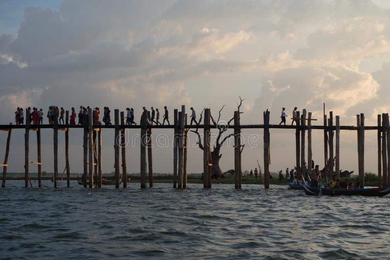 Ubein Bridge. In Mandalay royalty free stock images