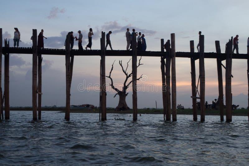 Ubein Bridge. In Mandalay royalty free stock photos
