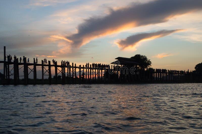 Ubein Bridge. In Mandalay royalty free stock photo
