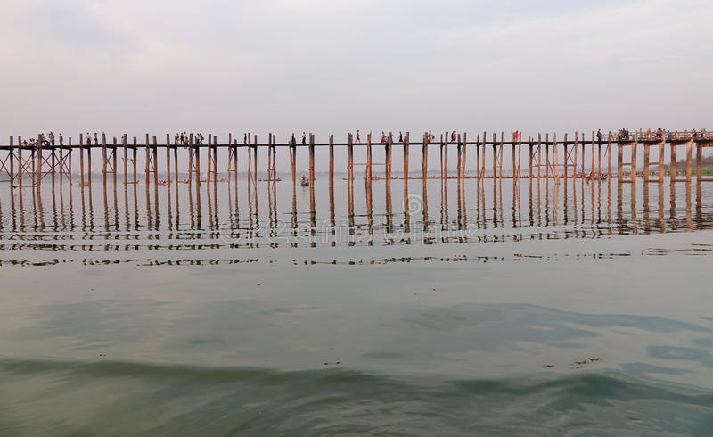 Ubein bridge in Mandalay, Myanmar.  royalty free stock images