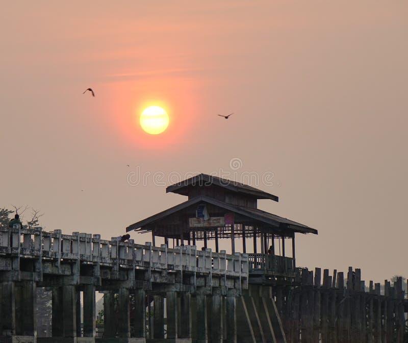 Ubein bridge in Mandalay, Myanmar. Ubein bridge at sunrise in Mandalay, Myanmar stock photography