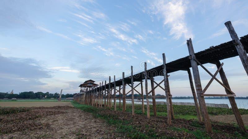 Ubein Bridge, Mandalay, Myanmar. Ubein Bridge, Mandalay, Myanmar (World longest wooden bridge stock images