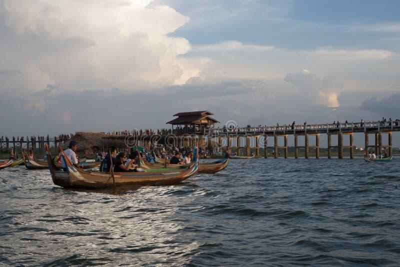 Ubein Bridge. In Myanmar royalty free stock image