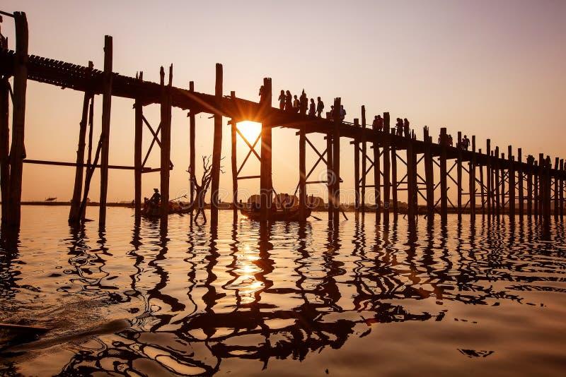Ubein Bridge at sunrise, Mandalay, Myanmar.  royalty free stock photography