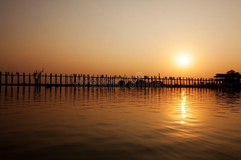 Ubein Bridge at sunrise, Mandalay, Myanmar.  royalty free stock photos