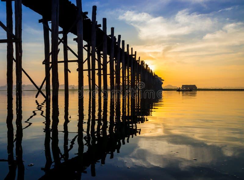Ubein Bridge at sunrise, Mandalay, Myanmar. Ubein Bridge sunrise, Mandalay, Myanmar stock photography