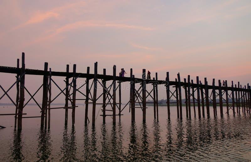 Ubein bridge at the sunrise. In Mandalay, Myanmar royalty free stock photo