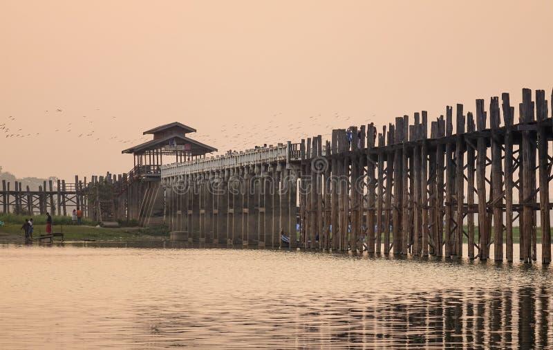 The Ubein bridge at sunrise in Mandalay, Myanmar.  stock photography